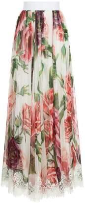 Dolce & Gabbana peony print long skirt