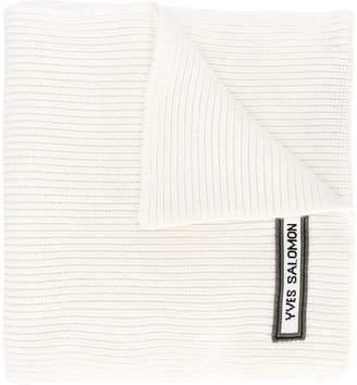 Yves Salomon Army ribbed logo scarf