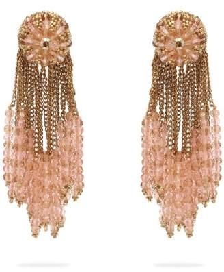 Oscar De La Renta - Chain Cluster Beaded Earrings - Womens - Gold