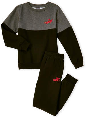 Puma Boys 4-7) Two-Piece Fleece Crew Neck Sweatshirt & Sweatpant Set