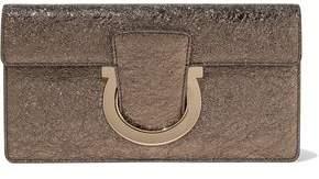 Salvatore Ferragamo Metallic Crinkled Leather Clutch