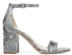 Sam Edelman Women's Daniella Ankle-Strap Snakeskin-Embossed Leather Sandals