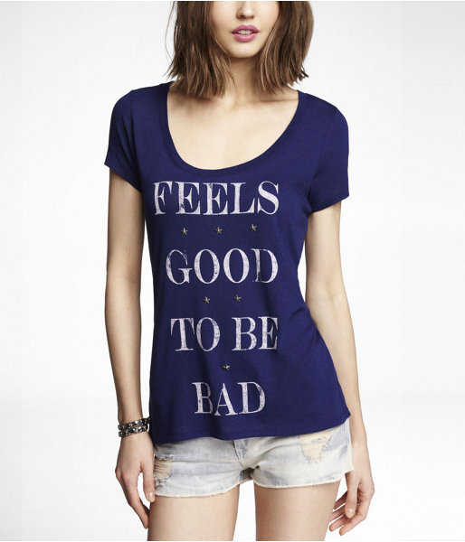 Express Studded Graphic Tee - Good To Be Bad