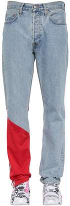 Vetements Cotton Denim Jeans W/ Jersey Detail