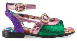 Gucci Toddler metallic glitter sandal
