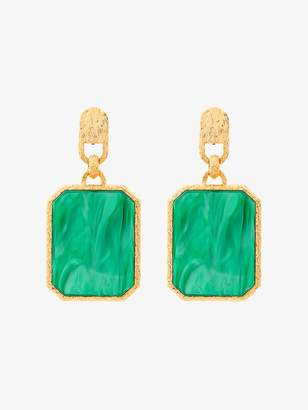 Balenciaga Green square large earrings