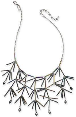 "INC International Concepts I.n.c. Silver-Tone Iridescent Bead Statement Necklace, 18"" + 3"" extender"