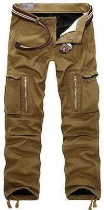 VMANNER Men's Winter Warm Fleece-Lined Loose Cargo Pants Casual Outdoor Trousers