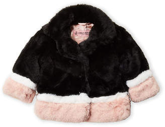 Urban Republic Infant Girls) Black Faux Fur Colorblock Jacket
