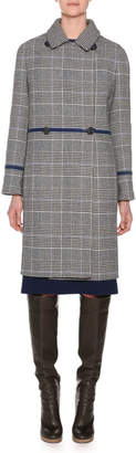 Agnona Double-Breasted Check Wool Cashmere Pea Coat