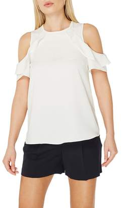 Dorothy Perkins Ivory Ruffle Cold Shoulder Top