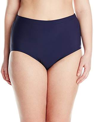 Penbrooke Women's Plus-Size Tummy Control Brief Bikini Bottom