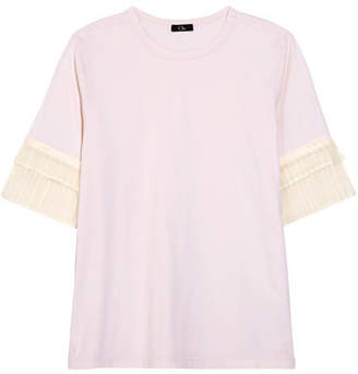 CLU - Pleated Organza-trimmed Silk-jersey T-shirt - Off-white $245 thestylecure.com