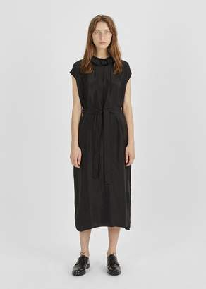 Atlantique Ascoli Cupro Ruffle Collar Dress Black Cupro