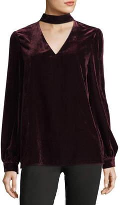 Paige Tamar Choker V-Neck Long-Sleeve Velvet Blouse