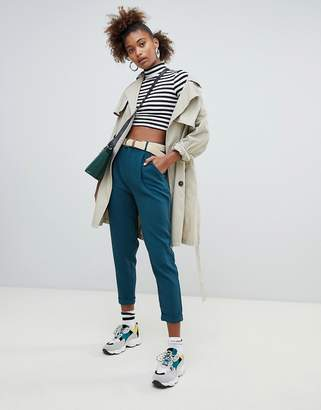 Pull&Bear PANTS with turn up cuff in green