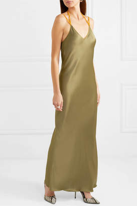 Helmut Lang Rubberband Tulle-trimmed Satin Maxi Dress - Army green
