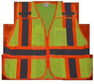 Petra Roc LVM2-PSV-SUPER Public Safety Vest 207-2006 Lime Mesh with Orange Binding 5-Point Breakaway with Expandable Side Closures 5 Pockets, Super 6X & 8X