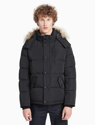 Calvin Klein faux fur puffer hooded jacket