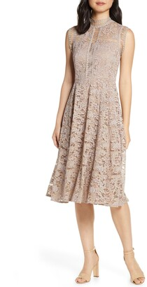 Eliza J High Neck Lace Fit & Flare Dress