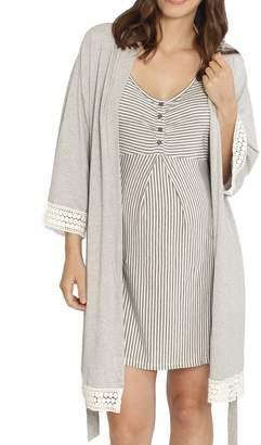Angel Maternity Nursing/Maternity Dress, Robe & Baby Wrap Set
