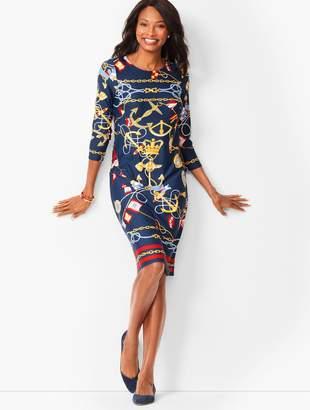Talbots Nautical-Print Jewel-Neck Shift Dress