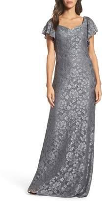 La Femme Flutter Sleeve Lace Gown
