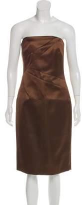 Michael Kors Strapless Satin Dress Brown Strapless Satin Dress