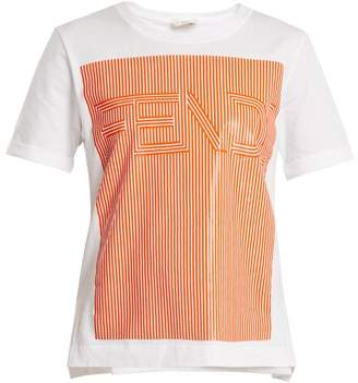 Fendi - Striped Logo Print Cotton Jersey T Shirt - Womens - White Multi