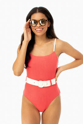 Solid & Striped Coral Nina Belt One Piece