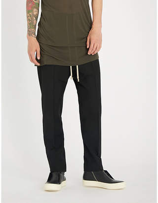 Rick Owens Dropped-crotch relaxed-fit straight wool trousers