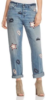 Scotch & Soda L'Adorable Patch Boyfriend Jeans in Alkaline Bleach $225 thestylecure.com