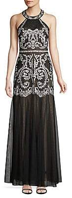 BCBGMAXAZRIA Women's Embroidered Halter Gown