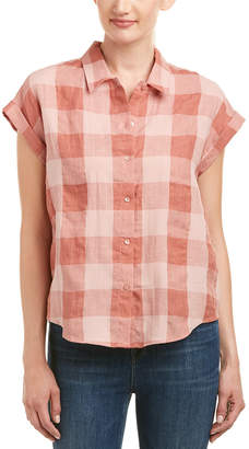 Lucky Brand Plaid Linen-Blend Top
