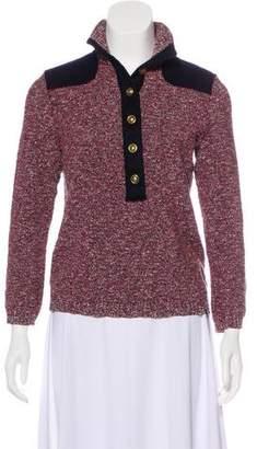 Tory Burch Long Sleeve Metallic Sweater