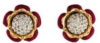 Judith Leiber Crystal Flower Earrings