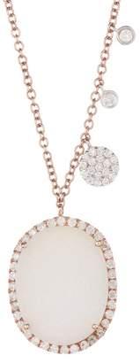 Meira T 14K Rose Gold Druzy Stone & Diamond Charm Necklace - 0.43 ctw