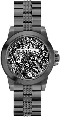 Harley-Davidson Analog Boyfriend Collection Floral Pattern Watch