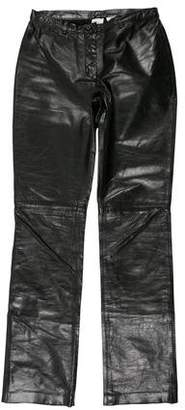 Armani Exchange Leather Mid-Rise Pants