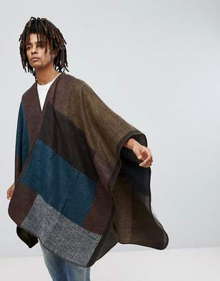Colour Block Cape In Multi