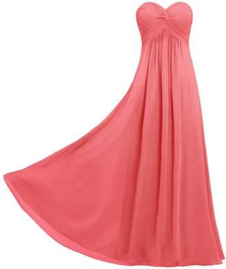 81a13e83a0f ANTS Women s Pleat Chiffon Strapless Bridesmaid Dresses Long Gowns Size US