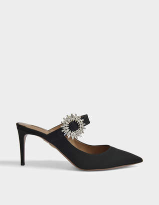 Aquazzura Crystal Blossom 75 Mule Shoes in Black Woven Calfskin and Rhinestones