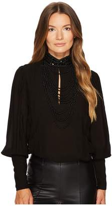 Pierre Balmain Jeweled High-Neck Blouse