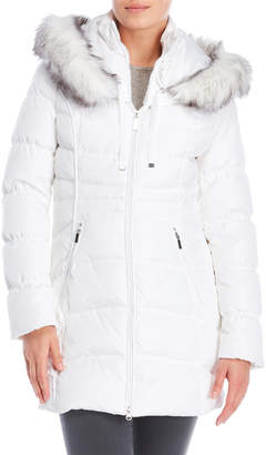 Laundry by Shelli Segal Faux Fur Quilted Down Coat