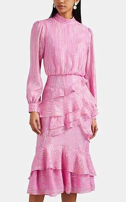 Saloni Women's Isa Silk-Blend Fil Coupé Midi-Dress - Pink