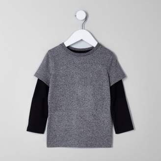River Island Mini boys black and grey double layer T-shirt