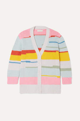 Stella McCartney Striped Organic Cotton And Merino Wool-blend Cardigan - Blue