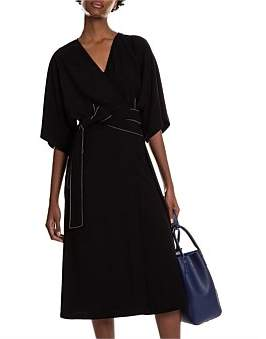 Studio.W Belted Top Stitch Crepe Wrap Dress