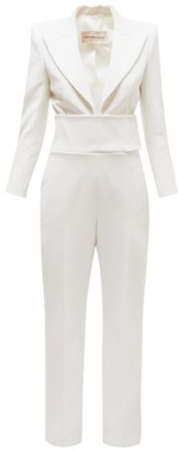 Alexandre Vauthier Plunge Front Tailored Wool Crepe Jumpsuit - Womens - White