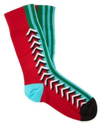 Burberry Graphic Silk Blend Socks - Womens - Red Multi
